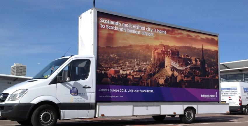 Hugemedia.co.uk - Edinburgh Airport Backlit Ad Vans